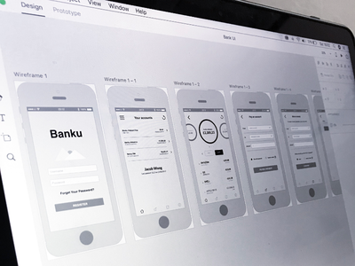 Wireframe Session web ux user ui prototype mobile interface interaction bank experience creative app
