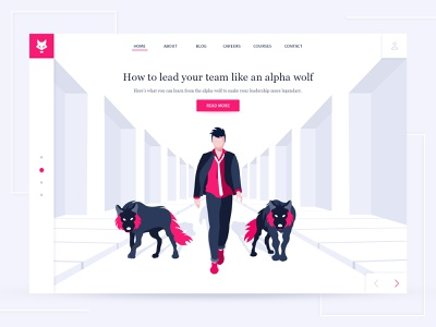 Wolf- Management Blog illustration team alpha agency business walk webdesign leader manager web ui card blog web design landing page wolf