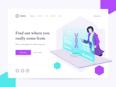 DNA Test flat hexagon scientist science web chemistry ui illustration web design card landing page dna test dna