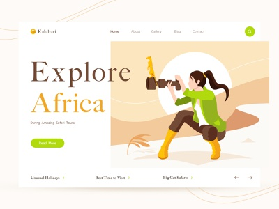 Desert photoshoot travel explorer africa camera girl adventure tour safati meerkat sun shoot photographer desert ui web web design illustration landing page card