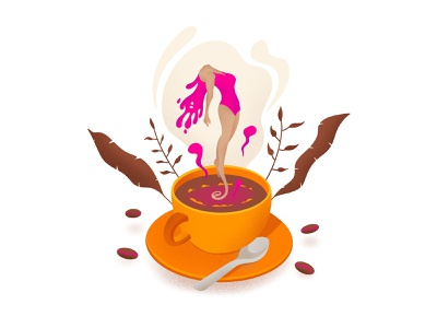 Caffeine leaves coffee beans procreate ipad texture float girl energetic energy illustration caffeine tea spoon liquid cup coffee