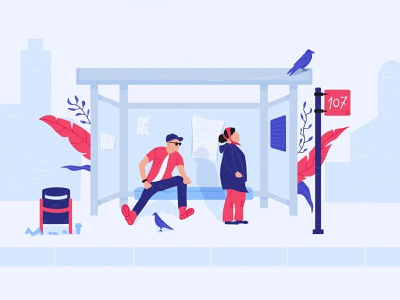 Waiting waiting bus stop people guy old character flat illustration illustration bus stop