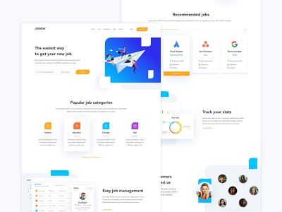 Jobster flat design dashboard ui job listing find a job jobs careers job vector flat ui illustration web design landing page