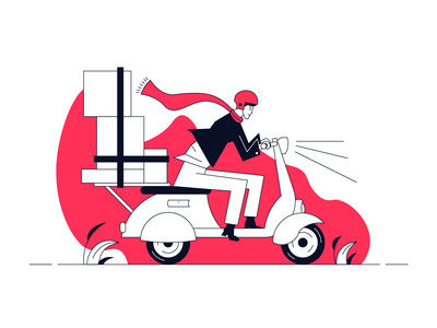 Shipment web illustration ride service flat simple illustration box shipping ecommerce delivery courier shipment