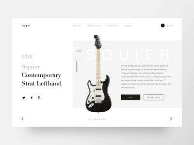 Guitar shop web interface loading minimalistic after effects guitar interface store webdesign card minimal interaction ecommerce animation