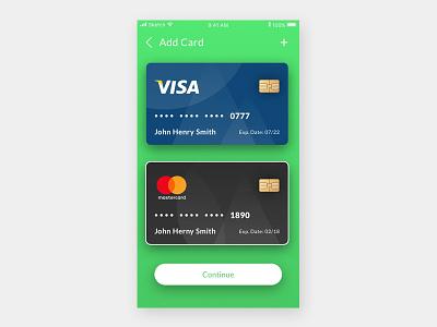 Add A Card walk through app credit card