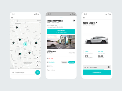 Electric Vehicle Charger App ui app charger