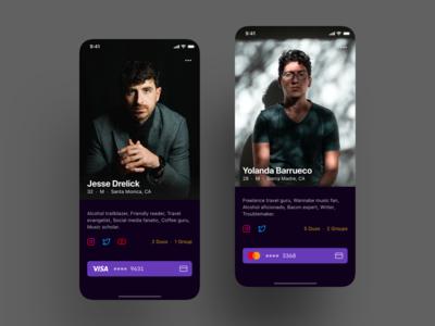 Profile Screens for Nightclub App