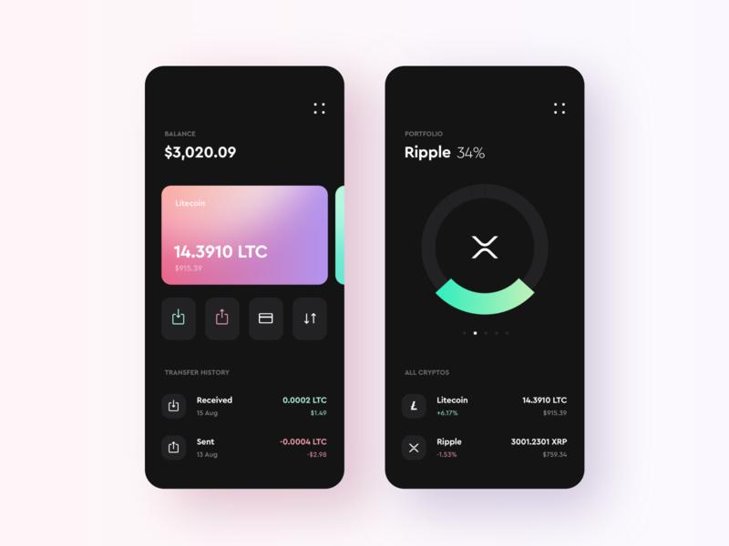 wallet dark portfolio balance receive sent wallet crypto app ux ui design illustration
