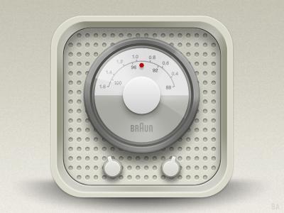 Braun radio iOS icon braun speaker ios icon iphone app application faux 3d radio