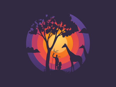 Sunsets and Silhouettes adobe animal silhouette sunset nature africa dribbble graphicdesign shot vector follow design illustration
