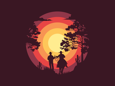 Sunsets and Silhouettes art west cowboy abstract dribbble graphicdesign shot vector follow design illustration