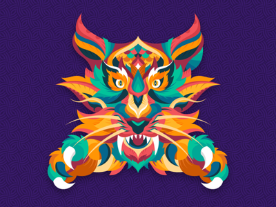 THE ROYAL abstract graphic animals adobe color tiger dribbble graphicdesign shot vector follow design illustration