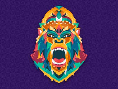The Power art color kingkong ape gorilla adobe abstract graphicdesign shot vector follow design illustration