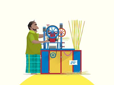 Just Chennai things! adobe shop vendor sugarcane shot vector graphic character dribbble graphicdesign design illustration