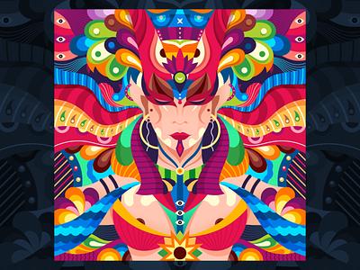 Bastet mythological colors mythology egypt abstract character dribbble graphicdesign shot vector follow design illustration