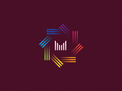 M - Logo Type for an Event Management Company follow shot vector abstract colors madras design branding m type mark logo