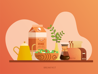 Breakfast healthyfood cook plants orange grain texture juice salad bread coffee breakfast illustration
