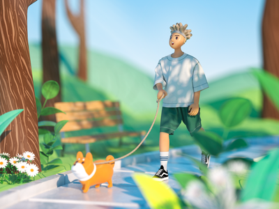 walk the dog 3dcharacter 3d ilustration plants sunshine mornings cinema4d walking park walk the dog boy happy octane c4d character 3d illustration