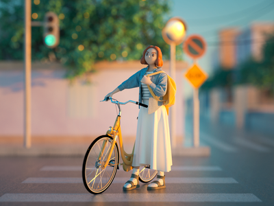 Come back home street evening meditation traffic light road fashion octane girl character render modeling bicycle girl character c4d illustration 3dcharacter 3d