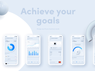 Free Neumorpic UI Kit modern business ios application ios app android app finance app finance library design kit free kit free ui kit skeuomorph figma skeuomorphism neumorphism neumorphic