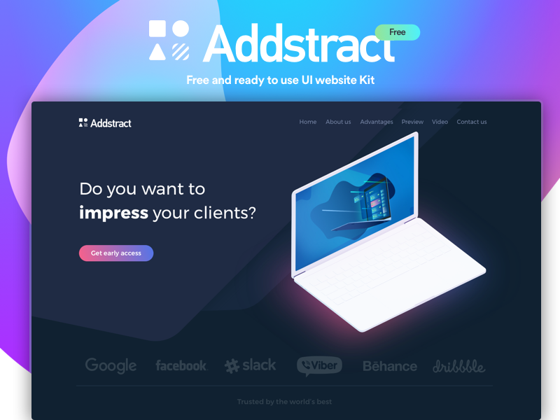 Addstract | Free UI kit gradient interaction web webdesign website illustration free ux ui page landing