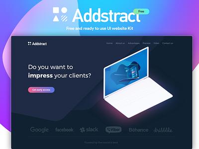 Addstract | Free UI kit gradient interaction web webdesign website illustration free ux ui page landing