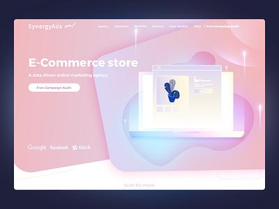 E-commerce Landing webpage ui ux branding marketing illustration store online solution commerce e-commerce