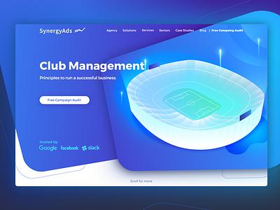 Club Management | Landing Page gradient camp nou web webdesign website illustration barcelona ux ui page landing