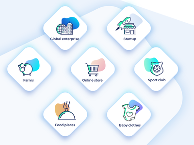 Artboard wep page ui ux design branding app pictograms startup illustration gradients icons