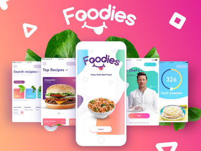 Foodies | App Design color web ui ux modern inspiration food appdesign gradients app