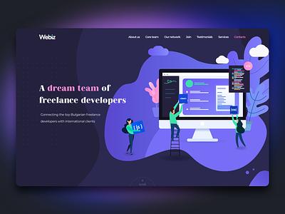 Webiz page exploration 1 :: Webdesign colorful ui branding page illustration website web webdesign landing