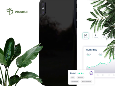 My Plants | Plantful app card green creative clean plant mobile app ui ux minimal app