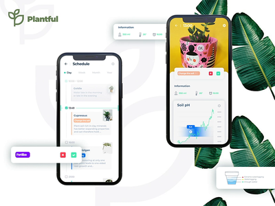 Calendar section | Plantfull app animation simple clean minimal ux ui date plants flowers app calendar