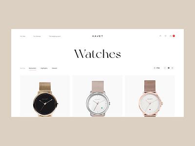 Havet Store - Catalogue design shop interface minimal black white concept woman website grid fashion ux ui animation watches store catalogue ecommerce