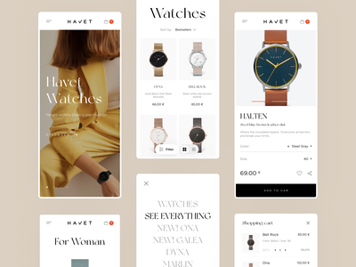 Havet Store - Mobile typography wooman grid iphone mobile white watches store shop fashion design ux ui website ecommerce