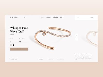 M. Monroe rings earrings charms bracelets jewelry gold shop fashion design ux ui ecommerce website