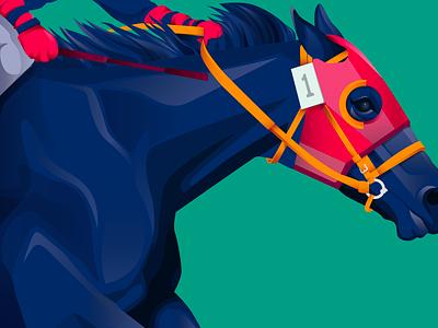 Number 1 horse racing blue vector illustration jockey derby horse