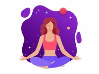 Space yoga stars meditation relax space cosmic yoga girl colors illustration