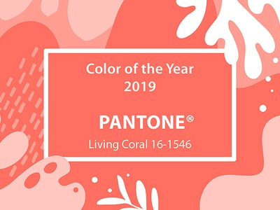 Living Coral 2019 living coral pink pantone 2019 coral collage illustration floral colors art