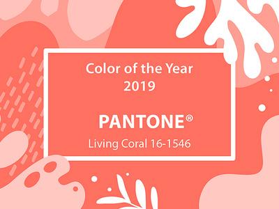 Living Coral 2019 living coral pink pantone 2019 coral collage illustration floral colors art