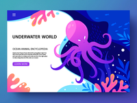Underwater illustration vector colors design blue coral reef octopus ocean web water floral illustration