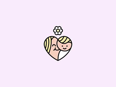 Mom Radio — Logo floral baby mom symbol mark minimal heart line logo line art icon logo branding