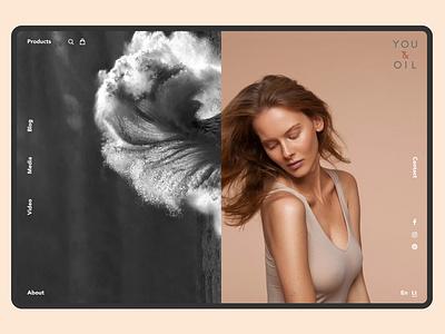 YOU & OIL — Web design shop blackandwhite wave nature web woman portrait woman webdesigner youandoil branding identity oil cosmetics naturalcosmetics skin beauty ui ux ui visualdesign webdesign