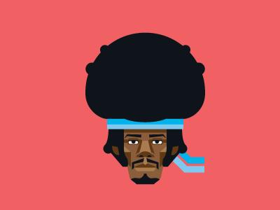 Hendrix portrait vector geometric face hendrix music pink headband illustration