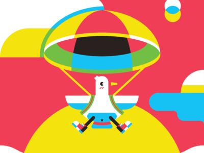 parachute helbetico illustration bird cute red blue yellow happy geometric vector