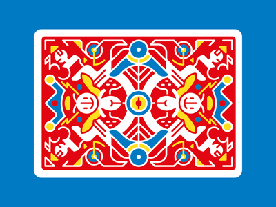 Abstract Faery card blue red happy yellow geometric vector