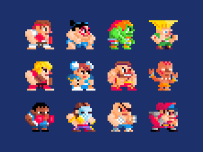 Street Fighter 2 Pixel Art helbetico cute chibi pixel street fighter 2 capcom games