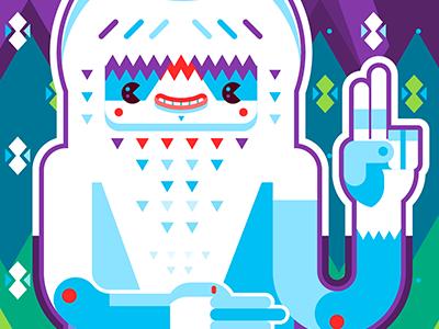 Pictomono vector geometric funny happy blue monster pictoplasma museum event