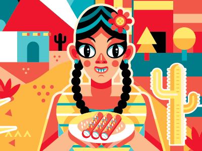 Antojitos vector geometric mexico colors yellow red woman happy enchilada cactus
